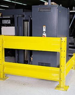 Barra de guardia protege al personal, maquinaria, estructuras de edificios